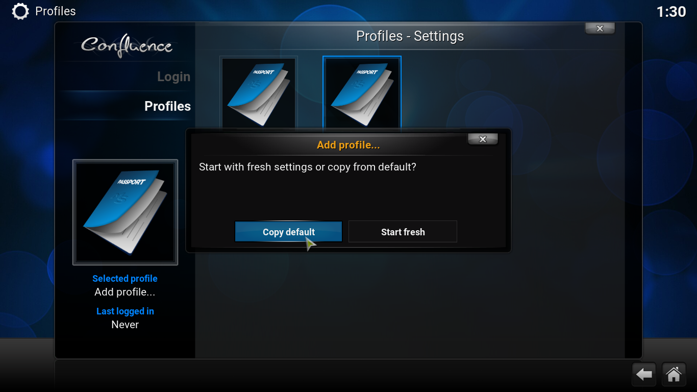Adding multiple profiles to Kodi
