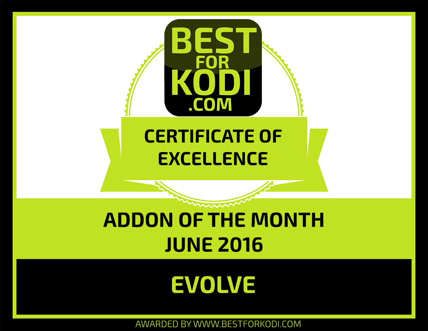 ADDON OF THE MONTH JUNE 2016 SMALL Install Evolve Kodi Addon