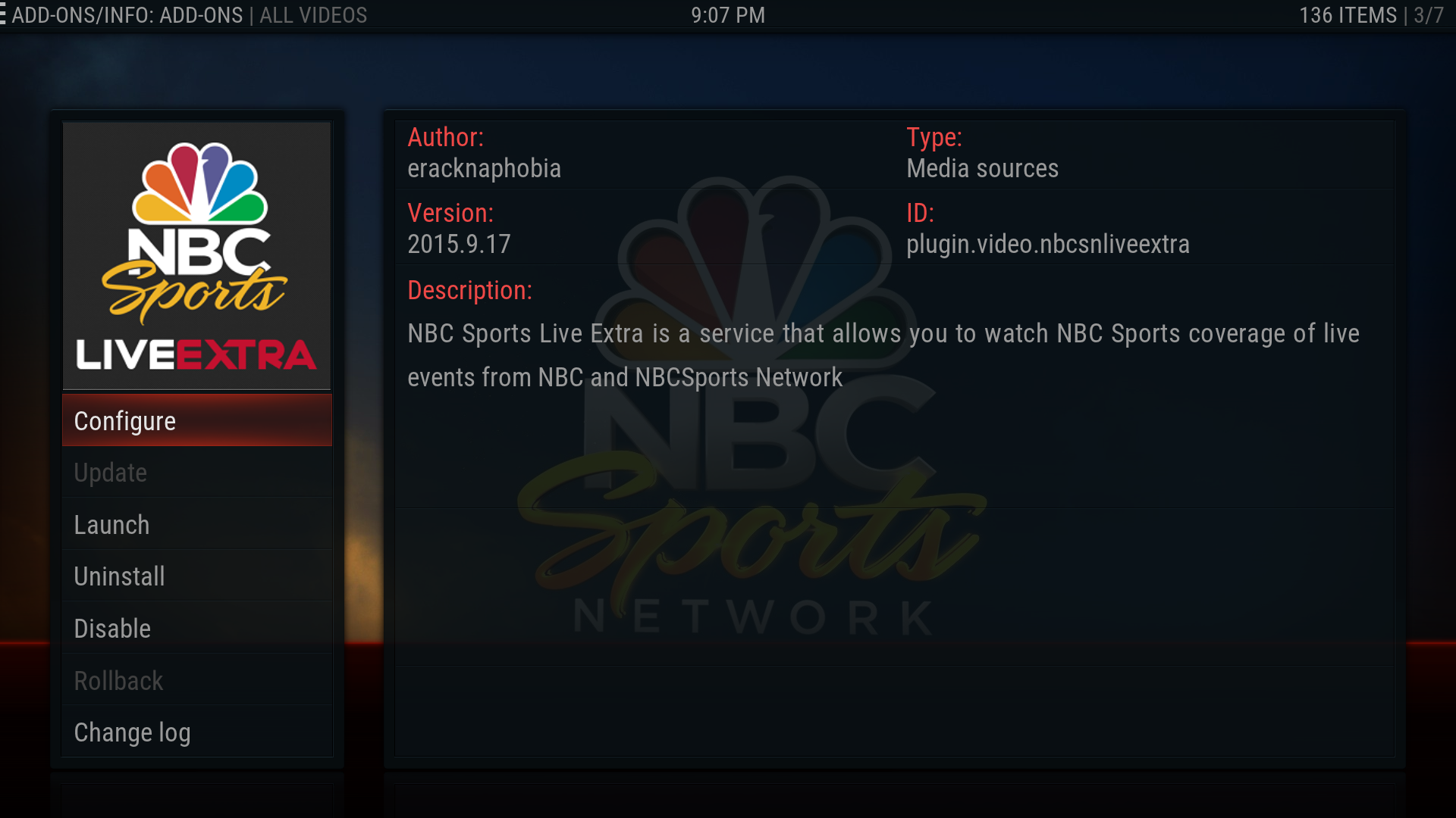 how to add nbc sports to kodi