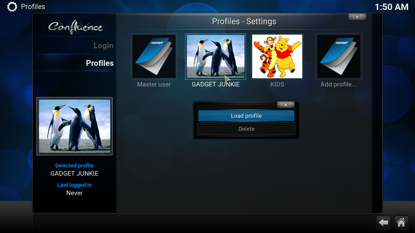 Adding multiple profiles to Kodi