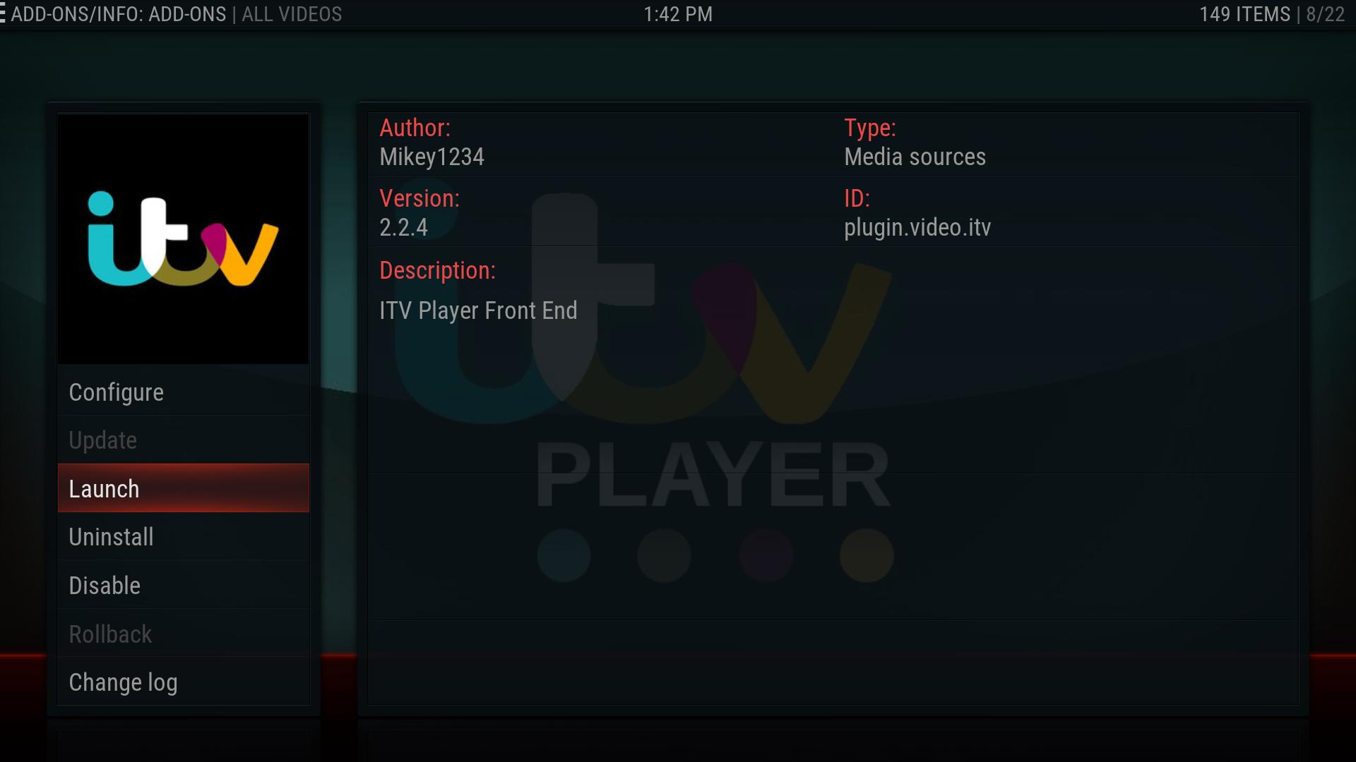 Install ITV Player addon Kodi