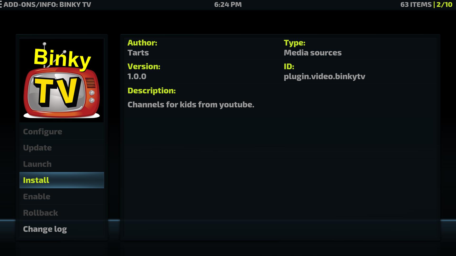 Install Binky Tv on your Kodi device