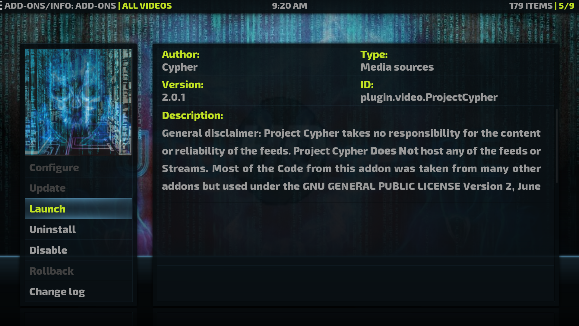 Project Cypher TV AddOn
