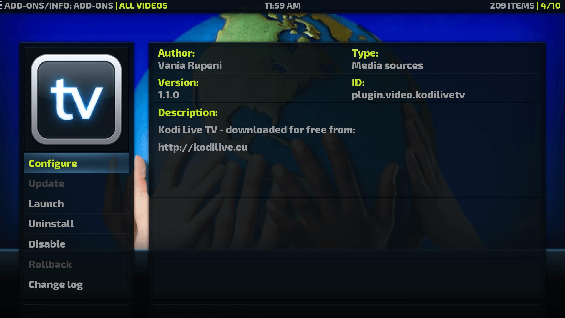 Install Kodi Live Tv addon