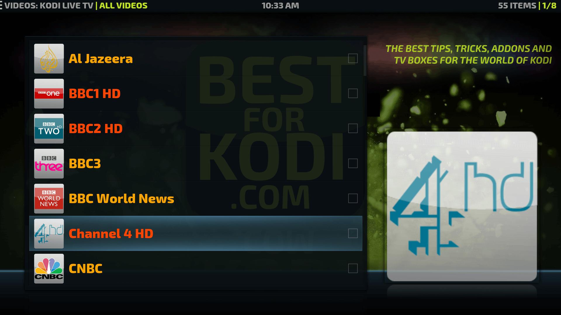 kodi how to use live tv