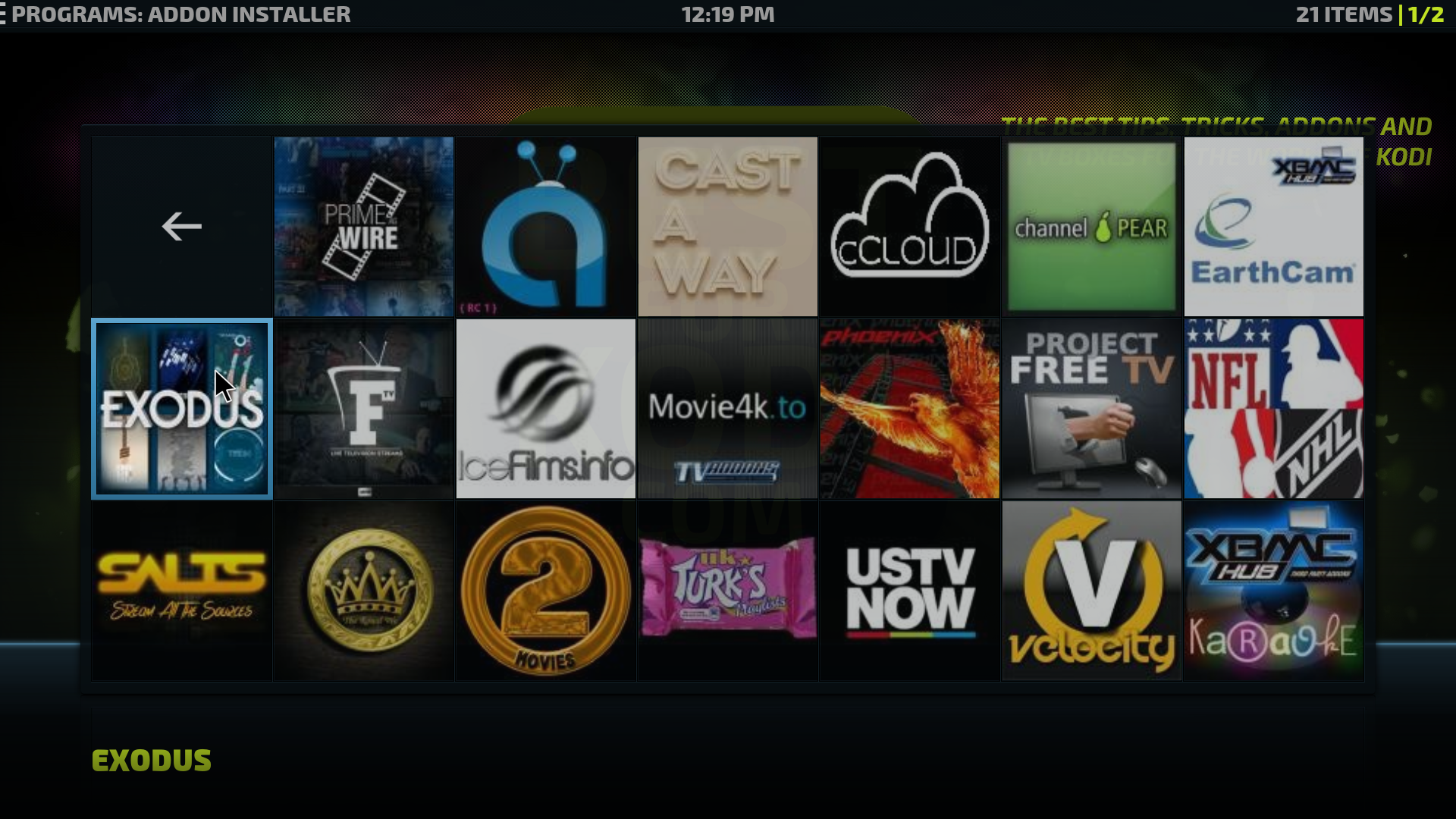 kodi exodus on android box