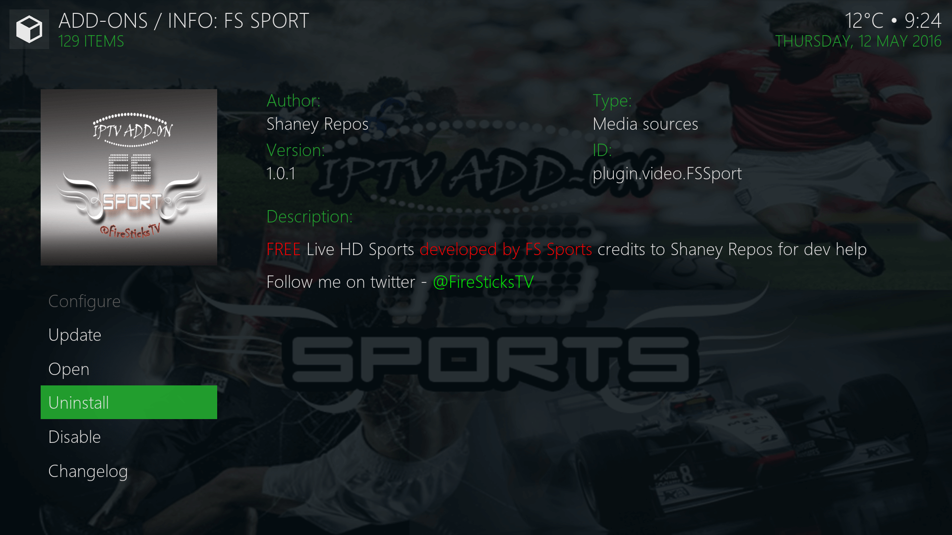Install FS Sport Kodi addon