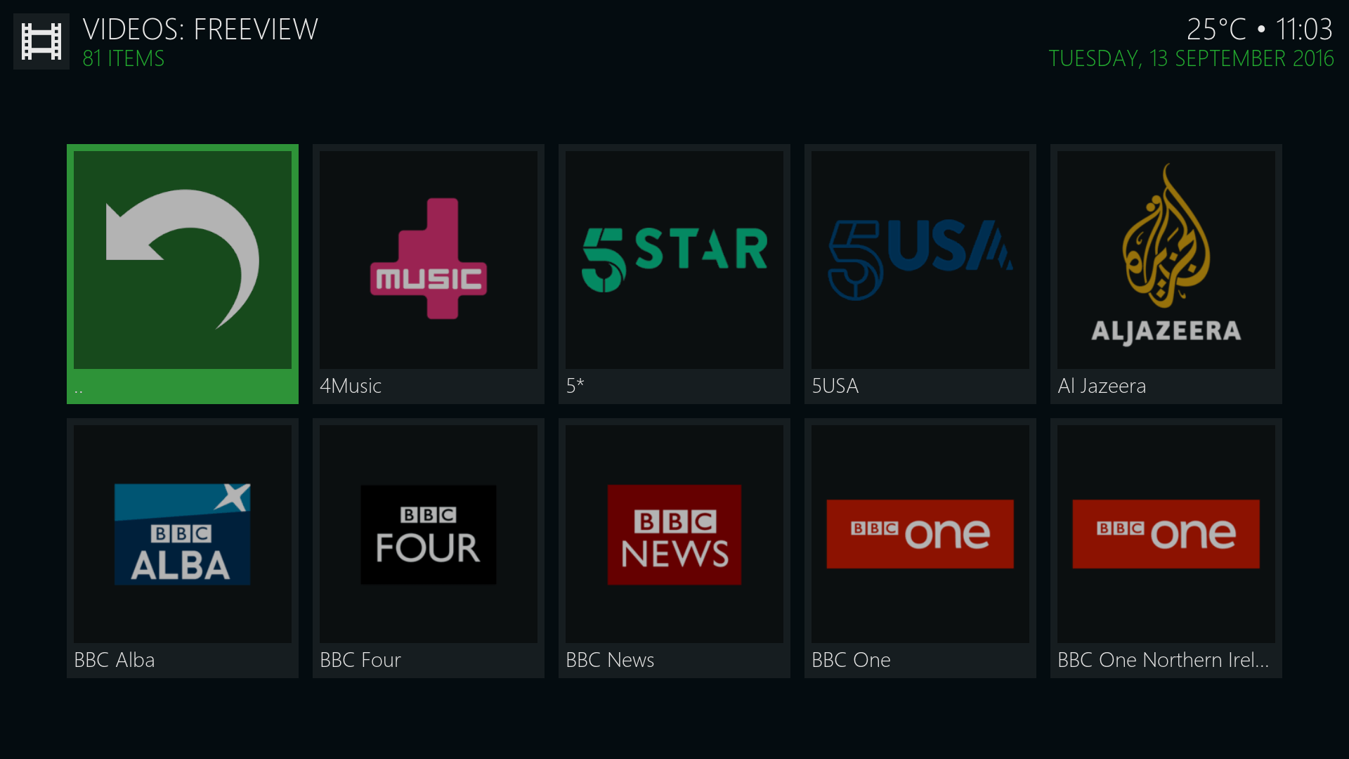 Channels available on new Freeview Kodi addon