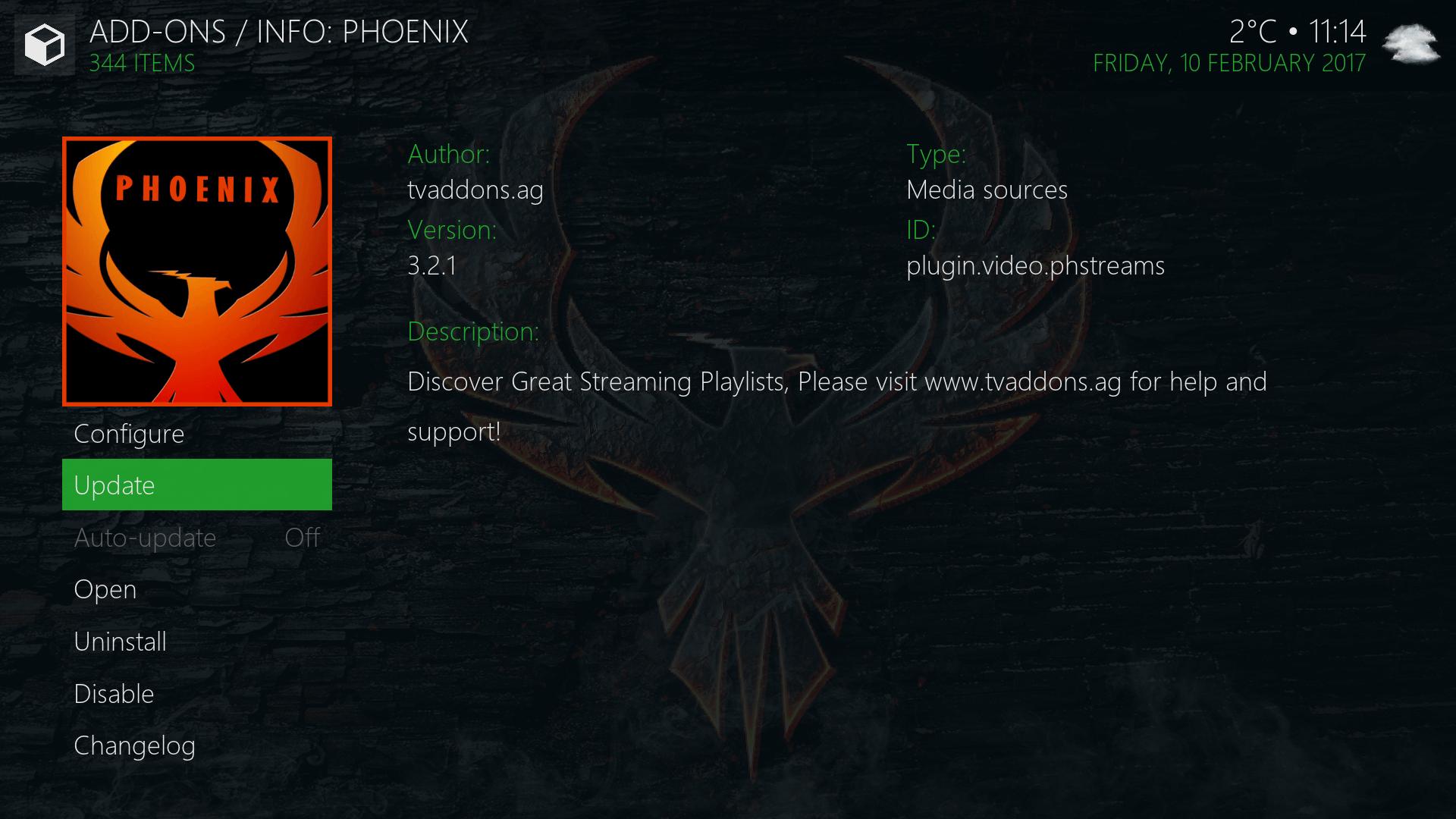 install new phoenix kodi