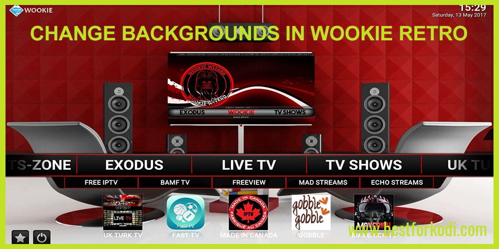 How to change Backgrounds in Wookie Retro Kodi 16 and 17