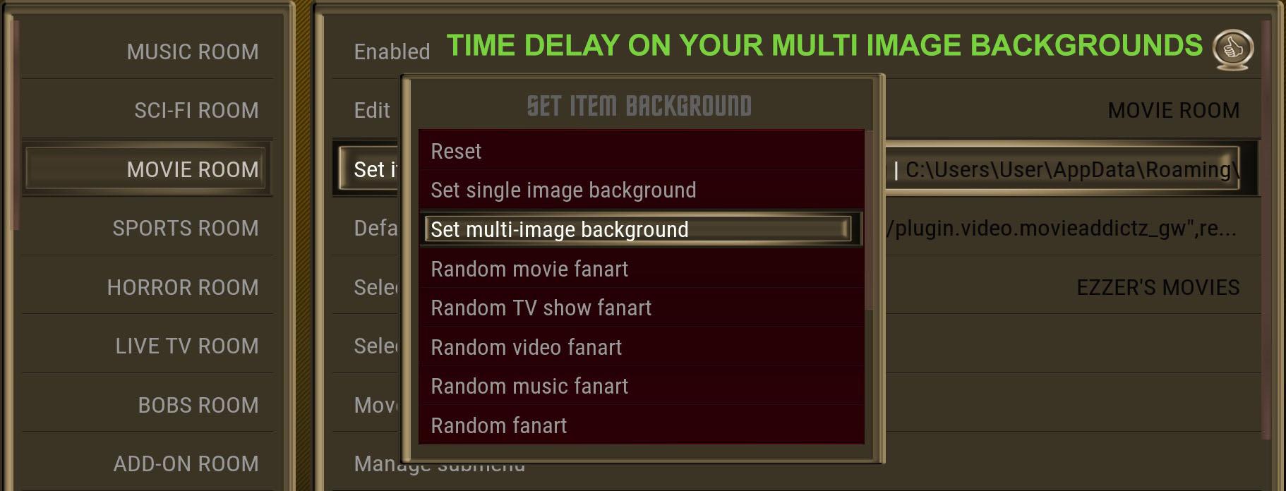 Multi Image Background time delay in Kodi
