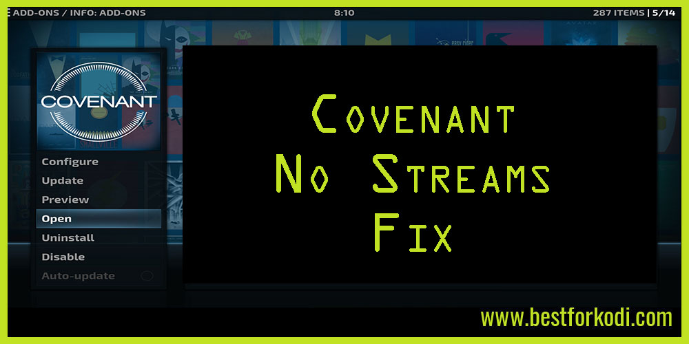 Covenant No Streams Fix for Kodi